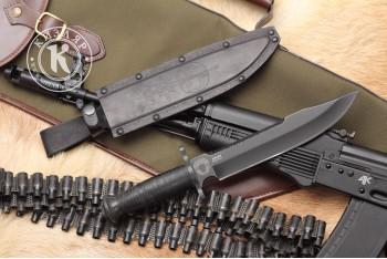Нож ДВ-2 AUS-8 стоунвош черный кожа ФСО России