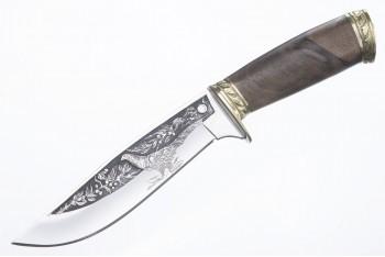 Нож Фазан AUS-8 художественно-оформленный латунь