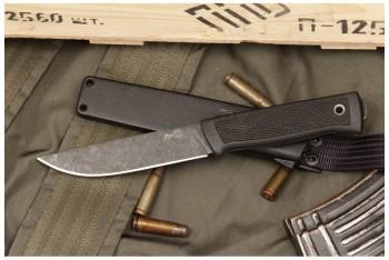 Нож Руз D2 стоунвош черный эластрон