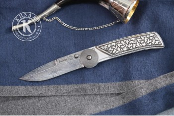 Нож складной Байкер-1 дамасск рукоять серебро Кубачи